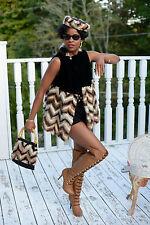 Designer Black Velvet &multicolor Mink Fur vest coat Jacket free hat bag S-M 2-8