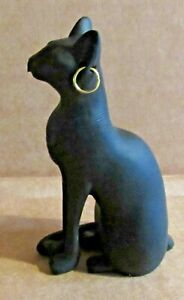 ORNAMENT EGYPTIAN CAT 90mm BLACK RESIN STATUE GAYER-ANDERSON GOLD PLATED HOOPS