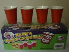 Mini RED CUP Shot GLasses Set of 4 Ceramic Solo Gag Gift Party Whiskey Liquor