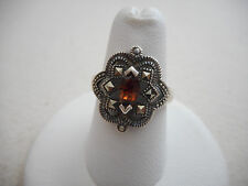 Vintage Sterling Silver Marcasite Carnelian Ring  size 7   RE3624