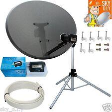 Freesat / Sky 80cm Zone 2 Satellite Dish,Quad,Tripod,finder & 5m White RG6 Coax