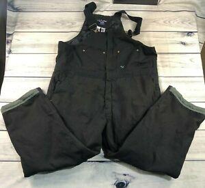 Walls Workwear Men's Size XXL Insulated Full Zip Workwear Black Bib Overalls