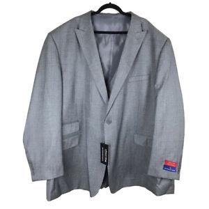 Apollo King Mens 3 Piece Suit Gray 2 Button Jacket Vest Pants Size 64L