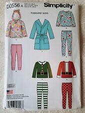 Simplicity D0556 Toddler Robe SEWING PATTERN Christmas Pajamas Pants Santa Elf