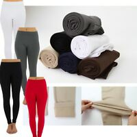 Womens FLEECE LINED Thermal THICK Solid Winter FOOTLESS Leggings XS-L