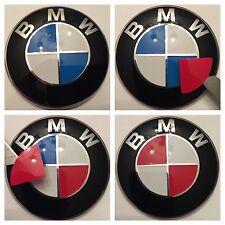 "All Bmw "" Gloss Red "" Set Emblem Vinyl Cover Roundel Sticker Overlay"