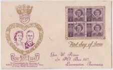 Stamps 1947 Australia princess birthday block 4 PRINCE cachet FDC number back