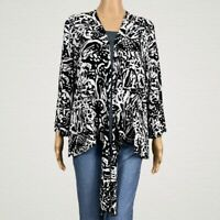 Chico's Travelers Abstract Print Tie Hem Cardigan Jacket 3 XL 16 18 Black White
