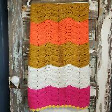 """Handmade Crochet Chevron 53""""×50"""" Blanket Throw Afghan Pink, White, Gold, Orange"""