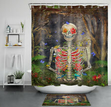Halloween Gothic Skeleton Flowers Butterfly Waterproof Fabric Shower Curtain Set