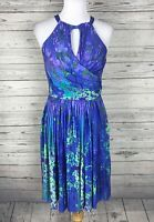 Suzi Chin for Maggy Boutique Blue / Purple Sleeveless Keyhole Halter Dress Sz 4