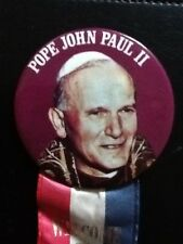Pope John Paul II Welcome To America October 1979 Ribbon with pinback button pin
