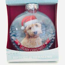 "Santa Paws Glass Baubles Cockapoo Dog Ornament Christmas History & Heraldry 3"""