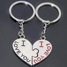 Pair I Love You Kiss Key Ring Key Heart Key fob Lover Couple Valentines Gift