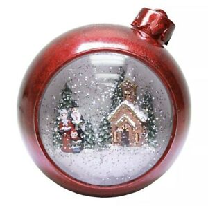 Roman Inc. Lighted Red Ornament Swirl Dome with Church Christmas Carolers 130361