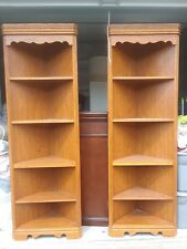Corner shelves, good condition. Woodgrain finish with some actual wood. Sturdy.