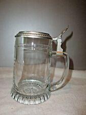 Bierkrug aus Glas mit Zinndeckel - siehe Foto