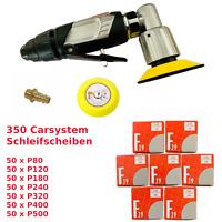 Mini Druckluft Exzenterschleifer 75mm + 350 CS Schleifscheiben P80 bis P500  KFZ