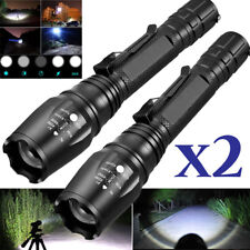 2PC Tactical Zoomable 15000Lumens 5-Modes T6 LED 18650 Flashlight Torch Light