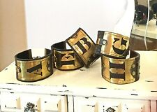 Vintage Initial Alphabet Brass Stencil Upcycled Hardware Leather Cuff Bracelet