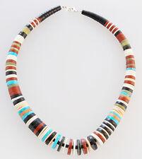 Native American Santo Domingo Pueblo Handmade Multi-Stone Bead Necklace