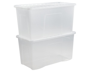 110 Litre Crystal Clear Plastic Storage Box/Secure Clip on Lid