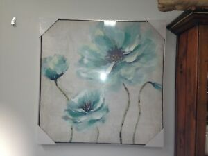 FLORAL AQUA CANVAS PRINT  on WHITE background LOUNGE DINING 83 CM -