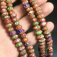 Lovely Vintage Venetian Trade African Multi Color Glass Chervons Beads Necklace