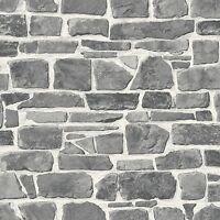 Gris Pared de Piedra Papel Pintado - Rasch 265620 - Nuevo Muro Elemento