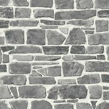 GREY STONE WALL WALLPAPER - RASCH 265620 - NEW FEATURE WALL