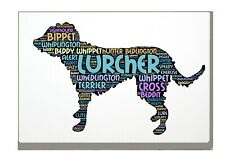 More details for lurcher word art canvas a4a3a2a1 birthday mothers day gift personalised option