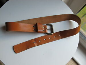 "Vintage Light Tan Hide Leather English Made Belt 30"" - 34"""