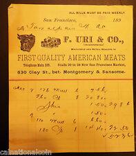 F. Uri & Co. First Quality American Meats Vignette Letterhead Invoice 1896