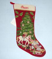 Sferra Christmas Toys Needlepoint Christmas Stocking Monogrammed OSCAR New