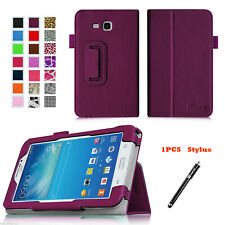 Leather Cover Folding Folio Case For Samsung Galaxy Tab 3/E Lite 7.0 7 & Stylus