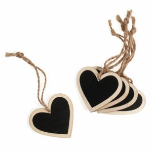Small Wooden Heart Blackboard Tags - 5pk