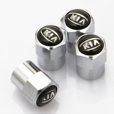 4 x Silver Chrome Tyre Valve Dust Caps (Fits KIA) - BLACK