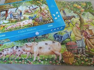 1000 PIECE JIGSAW PUZZLE APPLE CIDER ORCHARD PRESS PIGS HRSE CART ENGLAND GEESE