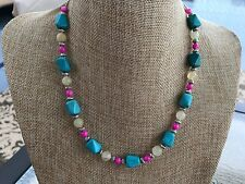 HDMD by Cyndi Necklace of Turquoise Magnesite, Pink Shell and Italian Onyx Beads