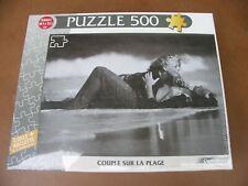 Puzzle 500 pièces couple plage amour noir et blanc avec colle et raclette neuf