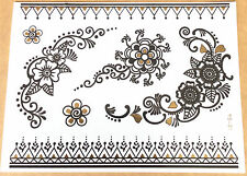 beauté Blooming fleurs étanche métal tatouage temporaire doré noir flash
