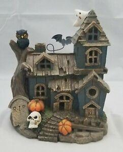 "Haunted House Halloween Skull Pumpkin Bat Light Up Spooky Table Decor LED 8.5"""