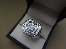 BOLD MODERN MEN'S 14K WHITE GOLD SQUARE DIAMOND BAGUETTE RING - SIZE 10.5