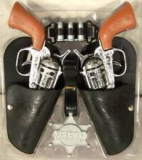 COMPLETE DOUBLE WESTERN HERO PLAY GUN SET toy guns holster belt cowboy sheriff