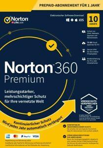 NORTON 360 PREMIUM 2021 10 Geräte 1 Jahr PC/Mac 10 PC DE Internet Security 2020