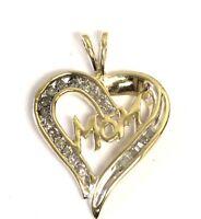 10k yellow gold .19ct SI1 H MOM heart slide pendant 2.1g estate vintage