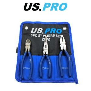 "US PRO 8"" 200mm 3pc Plier Set, Side Cutter, Long Nose, Combination Pliers 2070"