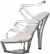 Pleaser Women's Kiss-206 Sandal,Clear,11 M US