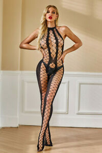 *NEW* BLACK HALTER NECK FISHNET BACKLESS HOLLOW-OUT BODYSTOCKING *ONE SIZE*