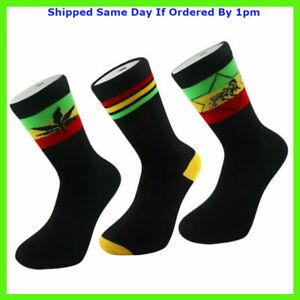 3 Pairs Mens Rasta Rastafarian Print Socks Jamaica Jah Lion Of Judah Weed Ganja